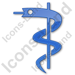 Medicine Rod Of Asclepius Plain Blue Icon, PNG/ICO, 256x256