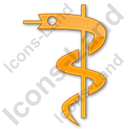 Medicine Rod Of Asclepius Plain Orange Icon, PNG/ICO, 256x256