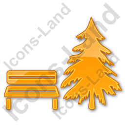 Park Coniferous Tree Plain Orange Icon