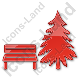 Park Coniferous Tree Plain Red Icon