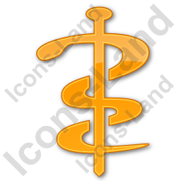 Physician Rod Of Asclepius Plain Orange Icon, PNG/ICO, 256x256