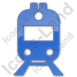 Railway Station Plain Blue Icon, PNG/ICO, 256x256
