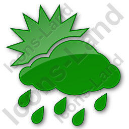 Rain Occasional Plain Green Icon