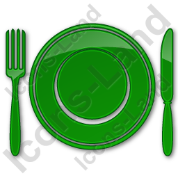 Restaurant Tableware Plain Green Icon