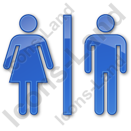 Restroom Women Man Plain Blue Icon