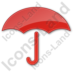 Umbrella Plain Red Icon