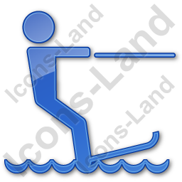 Waterskiing Plain Blue Icon, PNG/ICO, 256x256