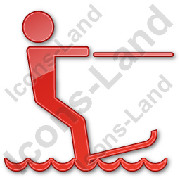 Waterskiing Plain Red Icon, PNG/ICO, 256x256