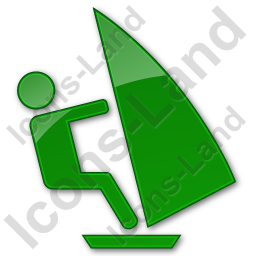 Windsurfing Plain Green Icon, PNG/ICO, 256x256
