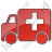 Ambulance Plain Red Icon, PNG/ICO, 48x48