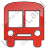 Bus Station Plain Red Icon, PNG/ICO, 48x48