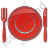 Restaurant Tableware Plain Red Icon