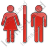 Restroom Women Man Plain Red Icon, PNG/ICO, 48x48