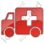 Ambulance Plain Red Icon, PNG/ICO, 64x64