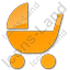 Baby Carriage Plain Orange Icon, PNG/ICO, 64x64