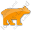 Bear Plain Orange Icon, PNG/ICO, 64x64