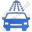 Car Wash Plain Blue Icon, PNG/ICO, 64x64