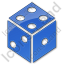 Casino Dice Plain Blue Icon