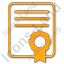 Certificate Plain Orange Icon