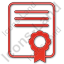Certificate Plain Red Icon