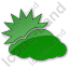 Cloudy Partly Plain Green Icon