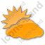 Cloudy Partly Plain Orange Icon, PNG/ICO, 64x64