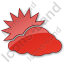 Cloudy Partly Plain Red Icon, PNG/ICO, 64x64