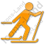 Cross Country Skiing Plain Orange Icon, PNG/ICO, 64x64