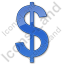 Currency Dollar Plain Blue Icon