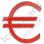 Currency Euro Plain Red Icon, PNG/ICO, 64x64