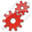 Gears Plain Red Icon, PNG/ICO, 64x64
