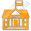 Government Facility Plain Orange Icon, PNG/ICO, 64x64