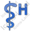 Hospital Rod Of Asclepius Plain Blue Icon, PNG/ICO, 64x64