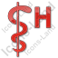 Hospital Rod Of Asclepius Plain Red Icon