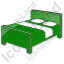 Hotel Bed 3D Plain Green Icon, PNG/ICO, 64x64