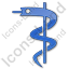 Medicine Rod Of Asclepius Plain Blue Icon, PNG/ICO, 64x64