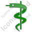 Medicine Rod Of Asclepius Plain Green Icon
