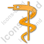 Medicine Rod Of Asclepius Plain Orange Icon, PNG/ICO, 64x64
