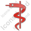 Medicine Rod Of Asclepius Plain Red Icon