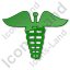 Pharmacy Caduceus Plain Green Icon