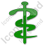 Physician Rod Of Asclepius Plain Green Icon
