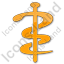 Physician Rod Of Asclepius Plain Orange Icon, PNG/ICO, 64x64