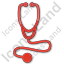 Physician Stethoscope Plain Red Icon