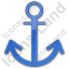 Port Anchor Plain Blue Icon