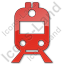 Railway Station Plain Red Icon, PNG/ICO, 64x64