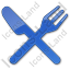 Restaurant Fork Knife Crossed Plain Blue Icon, PNG/ICO, 64x64