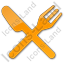 Restaurant Fork Knife Crossed Plain Orange Icon