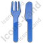 Restaurant Fork Knife Parallel Plain Blue Icon, PNG/ICO, 64x64