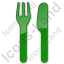 Restaurant Fork Knife Parallel Plain Green Icon