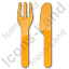 Restaurant Fork Knife Parallel Plain Orange Icon, PNG/ICO, 64x64